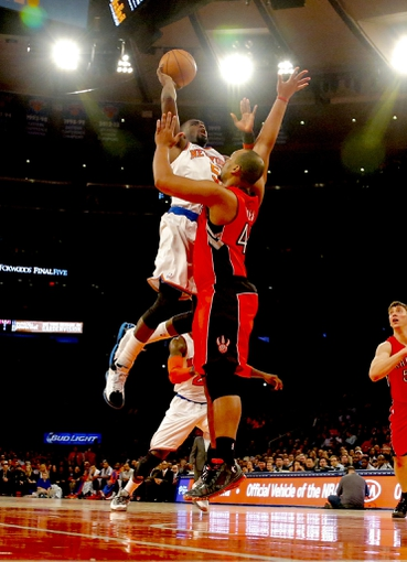 Apr 16, 2014; New York, NY, USA;  New York Knicks guard Tim Hardaway Jr. (5) drives to the basket against Toronto Raptors forward Chuck Hayes (44) during the second half at Madison Square Garden. New York Knicks defeat the Toronto Raptors 95-92. Mandatory Credit: Jim O'Connor-USA TODAY Sports