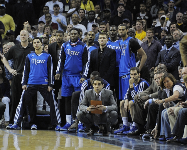 Apr 16, 2014; Memphis, TN, USA; Dallas Mavericks bench looks on during the game against the Memphis Grizzlies at FedExForum. Memphis Grizzlies beat the Dallas Mavericks in overtime 106 - 105. Mandatory Credit: Justin Ford-USA TODAY Sports