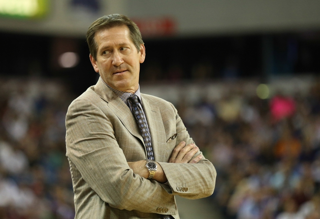 Apr 16, 2014; Sacramento, CA, USA; Phoenix Suns head coach Jeff Hornacek on the sideline during the second quarter against the Sacramento Kings at Sleep Train Arena. Mandatory Credit: Kelley L Cox-USA TODAY Sports