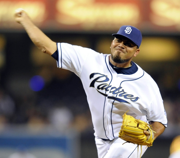 Apr 16, 2014; San Diego, CA, USA; San Diego Padres relief pitcher Joaquin Benoit (56) throws during the eighth inning against the Colorado Rockies at Petco Park. Mandatory Credit: Christopher Hanewinckel-USA TODAY Sports
