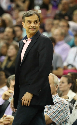 Apr 16, 2014; Sacramento, CA, USA; Sacramento Kings majority owner Vivek Ranadive on the sideline during the fourth quarter against the Phoenix Suns at Sleep Train Arena. The Phoenix Suns defeated the Sacramento Kings 104-99. Mandatory Credit: Kelley L Cox-USA TODAY Sports