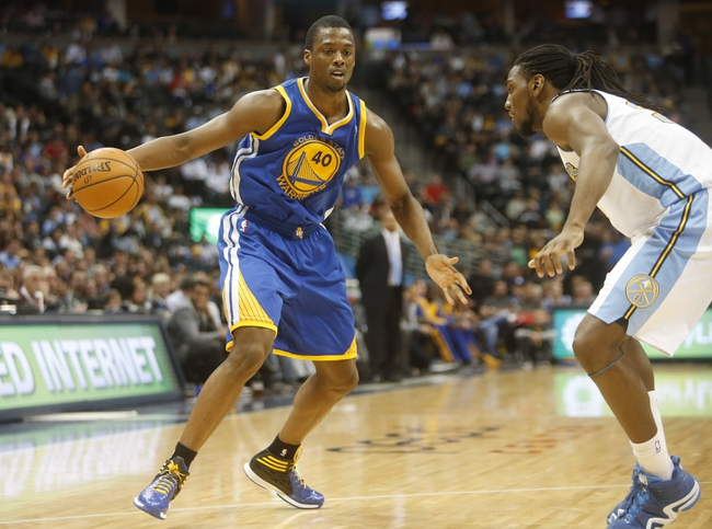 Apr 16, 2014; Denver, CO, USA; Golden State Warriors forward Harrison Barnes (40) during the second half against the Denver Nuggets at Pepsi Center.  The Warriors won 116-112.  Mandatory Credit: Chris Humphreys-USA TODAY Sports
