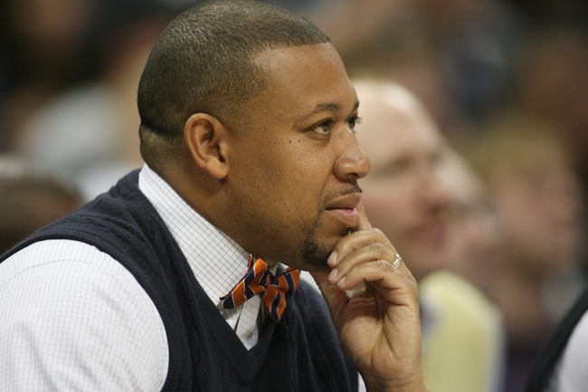 Apr 16, 2014; Denver, CO, USA; Denver Nuggets assistant coach Melvin Hunt during the first half against the Golden State Warriors at Pepsi Center. The Warriors won 116-112.  Mandatory Credit: Chris Humphreys-USA TODAY Sports