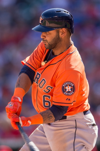 Apr 13, 2014; Arlington, TX, USA; Houston Astros shortstop Jonathan Villar (6) during the game against the Texas Rangers at Globe Life Park in Arlington. The Rangers defeated the Astros 1-0. Mandatory Credit: Jerome Miron-USA TODAY Sports