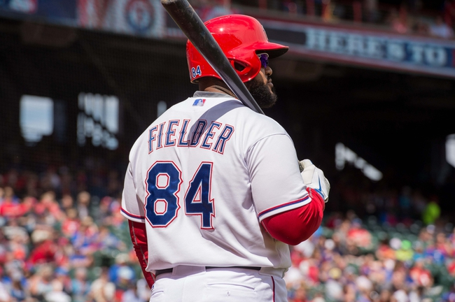 Apr 13, 2014; Arlington, TX, USA; Texas Rangers first baseman Prince Fielder (84) during the game against the Houston Astros at Globe Life Park in Arlington. The Rangers defeated the Astros 1-0. Mandatory Credit: Jerome Miron-USA TODAY Sports