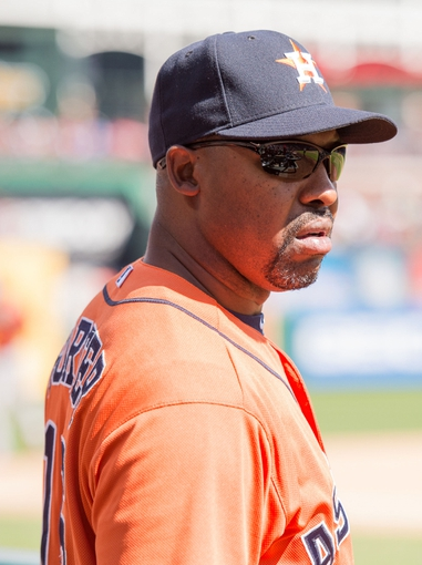 Apr 13, 2014; Arlington, TX, USA; Houston Astros manager Bo Porter (16) during the game against the Texas Rangers at Globe Life Park in Arlington. The Rangers defeated the Astros 1-0. Mandatory Credit: Jerome Miron-USA TODAY Sports