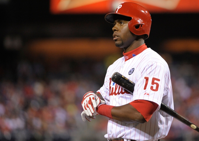 Apr 14, 2014; Philadelphia, PA, USA; Philadelphia Phillies right fielder John Mayberry Jr. (15) against the Atlanta Braves at Citizens Bank Park. The Braves defeated the Phillies, 9-6. Mandatory Credit: Eric Hartline-USA TODAY Sports