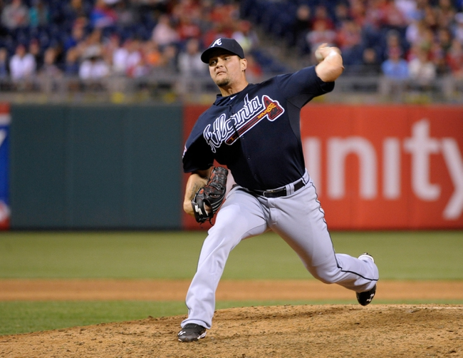 Apr 14, 2014; Philadelphia, PA, USA; Atlanta Braves relief pitcher Luis Avilan (43) throws a pitch against the Philadelphia Phillies at Citizens Bank Park. The Braves defeated the Phillies, 9-6. Mandatory Credit: Eric Hartline-USA TODAY Sports