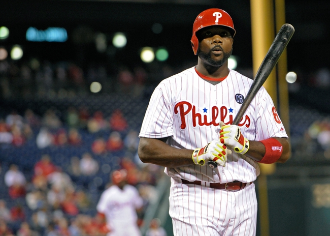Apr 14, 2014; Philadelphia, PA, USA; Philadelphia Phillies first baseman Ryan Howard (6) reacts after striking out against the Atlanta Braves at Citizens Bank Park. The Braves defeated the Phillies, 9-6. Mandatory Credit: Eric Hartline-USA TODAY Sports