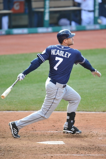 Apr 9, 2014; Cleveland, OH, USA; San Diego Padres third baseman Chase Headley (7) bats against the Cleveland Indians in game two at Progressive Field. San Diego won 2-1. Mandatory Credit: David Richard-USA TODAY Sports