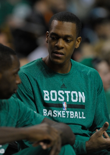 Apr 16, 2014; Boston, MA, USA; Boston Celtics guard Rajon Rondo (9) sits on the bench during the second half against the Washington Wizards at TD Garden. Mandatory Credit: Bob DeChiara-USA TODAY Sports