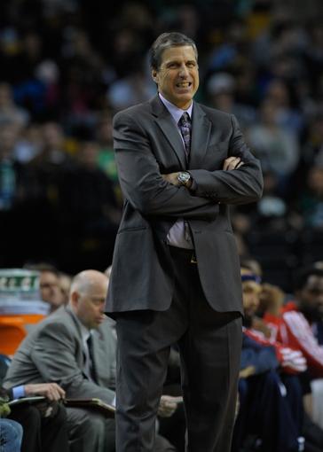 Apr 16, 2014; Boston, MA, USA; Washington Wizards head coach Randy Wittman during the second half against the Boston Celtics at TD Garden. Mandatory Credit: Bob DeChiara-USA TODAY Sports