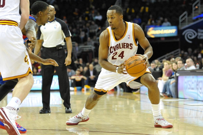 Apr 9, 2014; Cleveland, OH, USA; Cleveland Cavaliers guard Scotty Hopson (24) dribbles against the Detroit Pistons at Quicken Loans Arena. Cleveland won 122-100. Mandatory Credit: David Richard-USA TODAY Sports