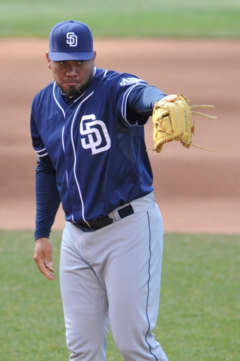 Apr 9, 2014; Cleveland, OH, USA; San San Diego Padres relief pitcher Joaquin Benoit (56) reacts against the Cleveland Indians in game two at Progressive Field. San Diego won 2-1. Mandatory Credit: David Richard-USA TODAY Sports