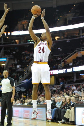 Apr 9, 2014; Cleveland, OH, USA; Cleveland Cavaliers guard Scotty Hopson (24) shoots against the Detroit Pistons at Quicken Loans Arena. Cleveland won 122-100. Mandatory Credit: David Richard-USA TODAY Sports