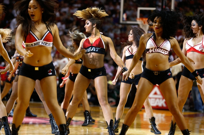 Apr 16, 2014; Miami, FL, USA; Miami Heat dancers perform in the second half of a game between the Miami Heat and Philadelphia 76ers at American Airlines Arena. The 76ers won 100-87. Mandatory Credit: Robert Mayer-USA TODAY Sports