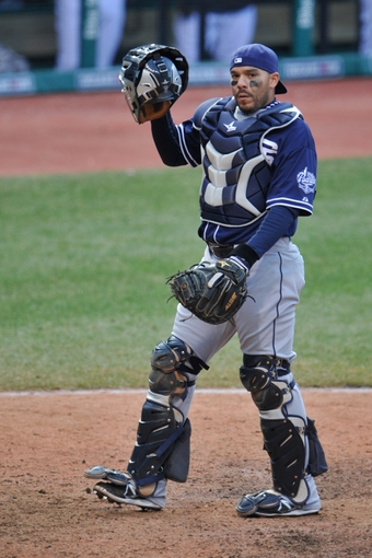 Apr 9, 2014; Cleveland, OH, USA; San Diego Padres catcher Rene Rivera (44) reacts against the Cleveland Indians in game two at Progressive Field. San Diego won 2-1. Mandatory Credit: David Richard-USA TODAY Sports