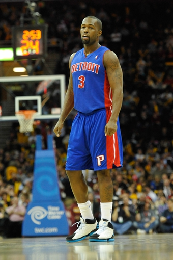 Apr 9, 2014; Cleveland, OH, USA; Detroit Pistons guard Rodney Stuckey (3) reacts against the Cleveland Cavaliers at Quicken Loans Arena. Cleveland won 122-100. Mandatory Credit: David Richard-USA TODAY Sports