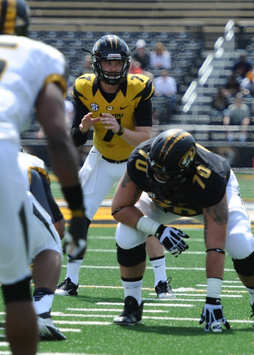 Apr 19, 2014; Columbia, MO, USA; Missouri Tigers quarterback Maty Mauk (7) waits for the snap during the Black & Gold Game at Faurot Field. Mandatory Credit: Dak Dillon-USA TODAY Sports
