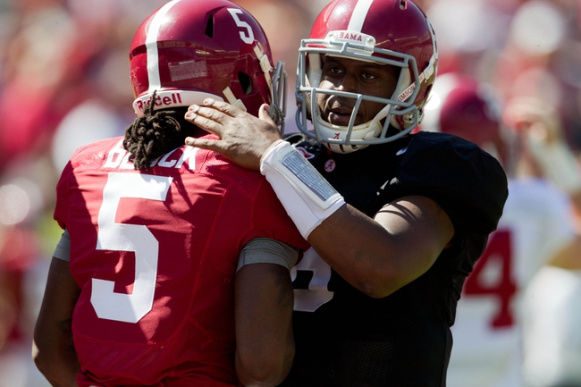 Apr 19, 2014; Tuscaloosa, AL, USA;  Alabama Crimson Tide wide receiver Chris Black (5) is congratulated by quarterback Blake Sims (6) after he scored a touchdown during the A-Day game at Bryant-Denny Stadium. Mandatory Credit: Marvin Gentry-USA TODAY Sports