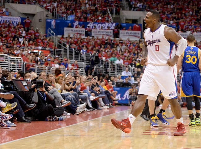 Apr 19, 2014; Los Angeles, CA, USA; Los Angeles Clippers forward Glen Davis (0)reacts to a play in the second half of game one during the first round of the 2014 NBA Playoffs against the Golden State Warriors at Staples Center. Warriors won 109-105. Mandatory Credit: Jayne Kamin-Oncea-USA TODAY Sports