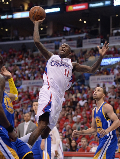 Apr 19, 2014; Los Angeles, CA, USA; Los Angeles Clippers center DeAndre Jordan (6) in the second half of game one during the first round of the 2014 NBA Playoffs against the Golden State Warriors at Staples Center. Warriors won 109-105. Mandatory Credit: Jayne Kamin-Oncea-USA TODAY Sports