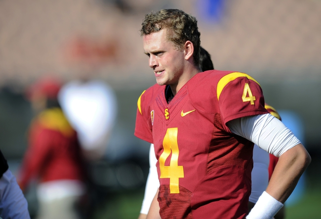 Apr 19, 2014; Los Angeles, CA, USA; Southern California quarterback Max Browne (4) during the Southern California Spring Game at Los Angeles Memorial Coliseum. Mandatory Credit: Kelvin Kuo-USA TODAY Sports