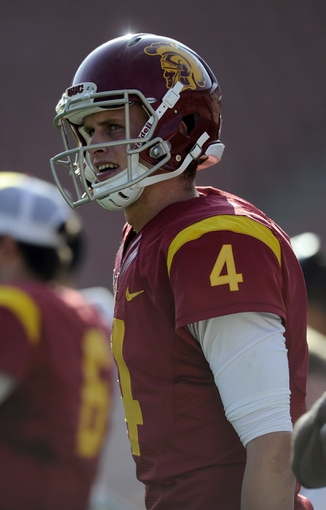 Apr 19, 2014; Los Angeles, CA, USA; Southern California quarterback Max Browne (4) on the sidelines during the Southern California Spring Game at Los Angeles Memorial Coliseum. Mandatory Credit: Kelvin Kuo-USA TODAY Sports
