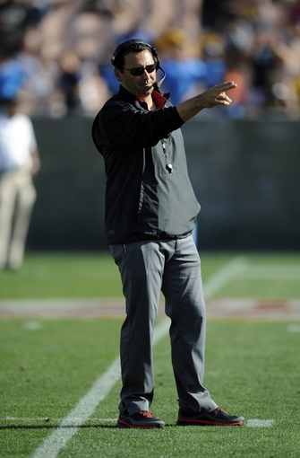 Apr 19, 2014; Los Angeles, CA, USA; Southern California head coach Steve Sarkisian during the Southern California Spring Game at Los Angeles Memorial Coliseum. Mandatory Credit: Kelvin Kuo-USA TODAY Sports