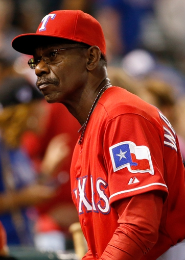 Apr 19, 2014; Arlington, TX, USA; Texas Rangers manager Ron Washington (38) reacts during the game against the Chicago White Sox at Globe Life Park in Arlington. Texas won 6-3. Mandatory Credit: Kevin Jairaj-USA TODAY Sports