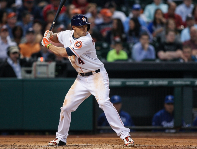 Apr 17, 2014; Houston, TX, USA; Houston Astros center fielder George Springer (4) bats during the third inning against the Kansas City Royals at Minute Maid Park. Mandatory Credit: Troy Taormina-USA TODAY Sports