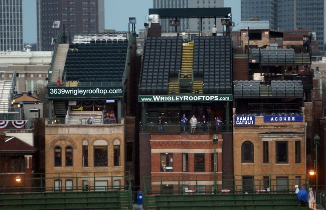 Apr 21, 2014; Chicago, IL, USA; A general view of the empty rooftops on Sheffield Avenue before the game between the Chicago Cubs and the Arizona Diamondbacks at Wrigley Field. Mandatory Credit: Jerry Lai-USA TODAY Sports