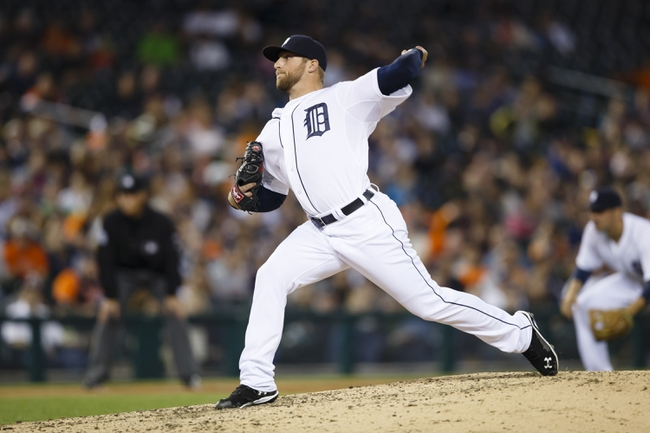Apr 21, 2014; Detroit, MI, USA; Detroit Tigers relief pitcher Ian Krol (46) pitches in the seventh inning against the Chicago White Sox at Comerica Park. Mandatory Credit: Rick Osentoski-USA TODAY Sports