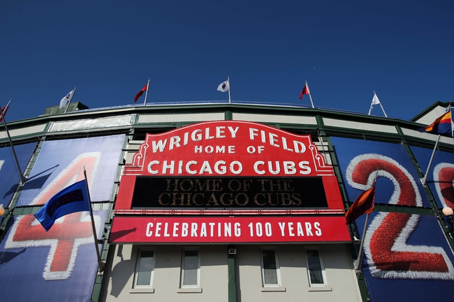 Apr 22, 2014; Chicago, IL, USA; A general view of the main marquee at the stadium entrance before the game between the Chicago Cubs and Arizona Diamondbacks at Wrigley Field. Mandatory Credit: Jerry Lai-USA TODAY Sports