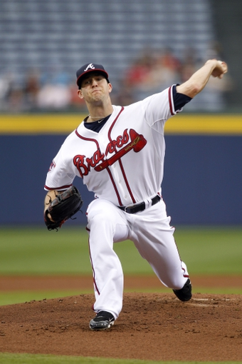 Apr 22, 2014; Atlanta, GA, USA; Atlanta Braves starting pitcher Alex Wood (40) throws a pitch against the Miami Marlins in the first inning at Turner Field. Mandatory Credit: Brett Davis-USA TODAY Sports