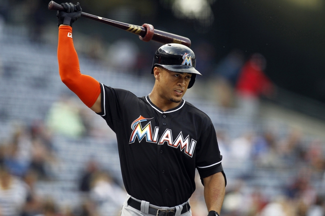 Apr 22, 2014; Atlanta, GA, USA; Miami Marlins right fielder Giancarlo Stanton (27) prepares for an at bat against the Atlanta Braves in the first inning at Turner Field. Mandatory Credit: Brett Davis-USA TODAY Sports