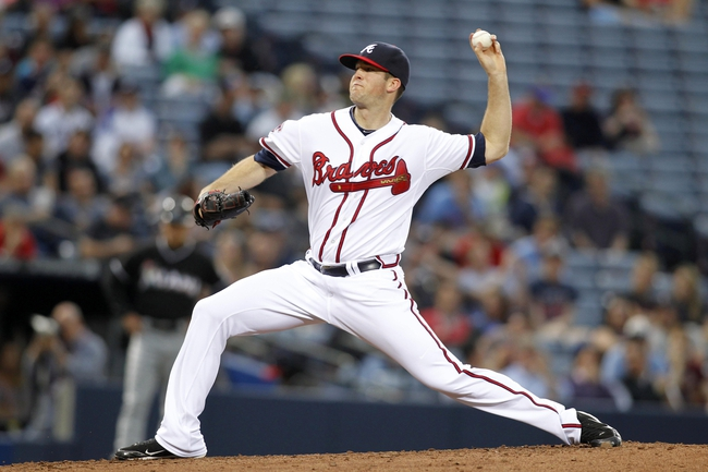Apr 22, 2014; Atlanta, GA, USA; Atlanta Braves relief pitcher Alex Wood (40) throws a pitch against the Miami Marlins in the third inning at Turner Field. Mandatory Credit: Brett Davis-USA TODAY Sports