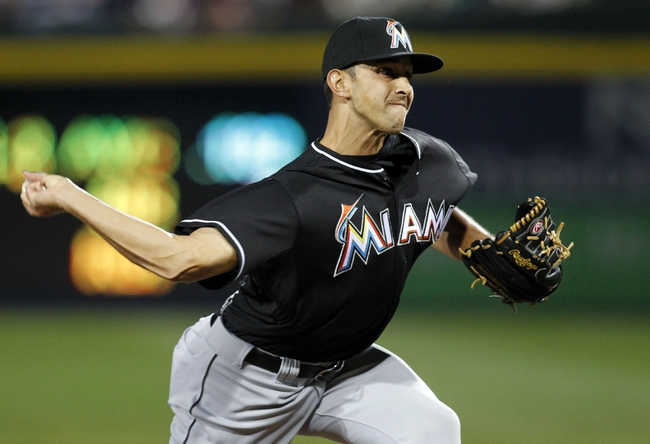 Apr 22, 2014; Atlanta, GA, USA; Miami Marlins relief pitcher Steve Cishek (31) throws a pitch against the Atlanta Braves in the ninth inning at Turner Field. The Marlins defeated the Braves 1-0. Mandatory Credit: Brett Davis-USA TODAY Sports