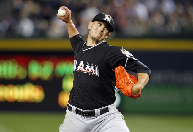 Apr 22, 2014; Atlanta, GA, USA; Miami Marlins starting pitcher Jose Fernandez (16) throws a pitch against the Atlanta Braves in the eighth inning at Turner Field. The Marlins defeated the Braves 1-0. Mandatory Credit: Brett Davis-USA TODAY Sports