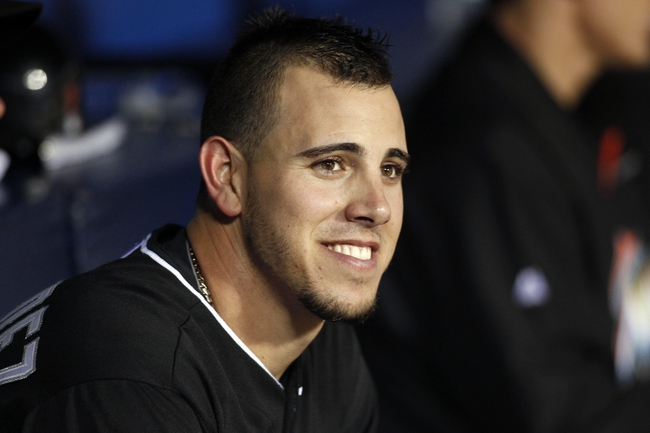 Apr 22, 2014; Atlanta, GA, USA; Miami Marlins starting pitcher Jose Fernandez (16) smiles after pitching eight scoreless innings against the Atlanta Braves in the ninth inning at Turner Field. The Marlins defeated the Braves 1-0. Mandatory Credit: Brett Davis-USA TODAY Sports
