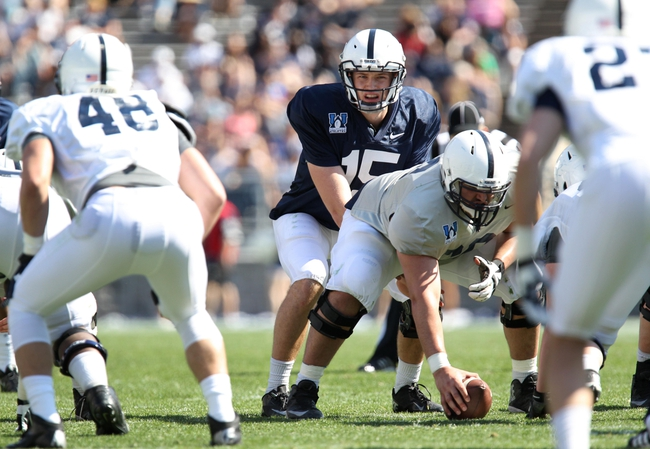 Apr 12, 2014; State College, PA, USA; Penn State Nittany Lions quarterback Michael O'Connor (15) at the line of scrimmage in the fourth quarter of the Blue White spring game at Beaver Stadium. The Blue team defeated the White team 37-0. Mandatory Credit: Matthew O'Haren-USA TODAY Sports