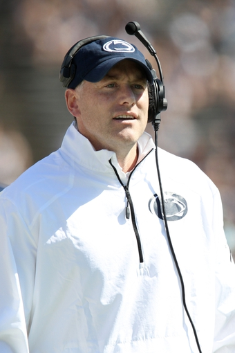 Apr 12, 2014; State College, PA, USA; Penn State Nittany Lions offensive coordinator/tight ends coach John Donovan looks on from the sideline in the third quarter of the Blue White spring game at Beaver Stadium. The Blue team defeated the White team 37-0. Mandatory Credit: Matthew O'Haren-USA TODAY Sports