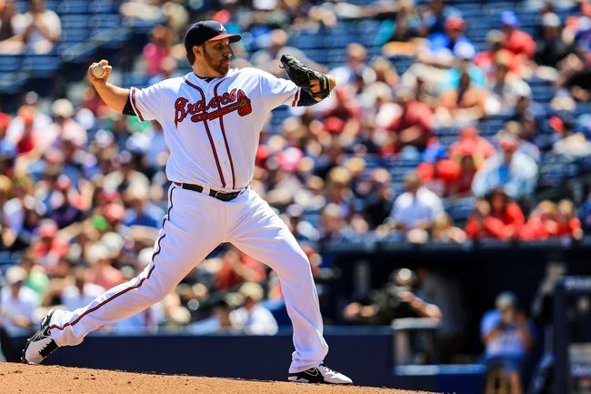 Apr 23, 2014; Atlanta, GA, USA; Atlanta Braves starting pitcher Aaron Harang (34) pitches in the second inning against the Miami Marlins at Turner Field. Mandatory Credit: Daniel Shirey-USA TODAY Sports