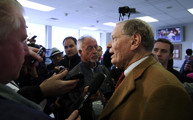 Apr 23, 2014; Chicago, IL, USA; MLB commissioner Bud Selig is interviewed in the press box during the fifth inning of a baseball game between the Chicago Cubs and Arizona Diamondbacks at Wrigley Field. Mandatory Credit: Jerry Lai-USA TODAY Sports
