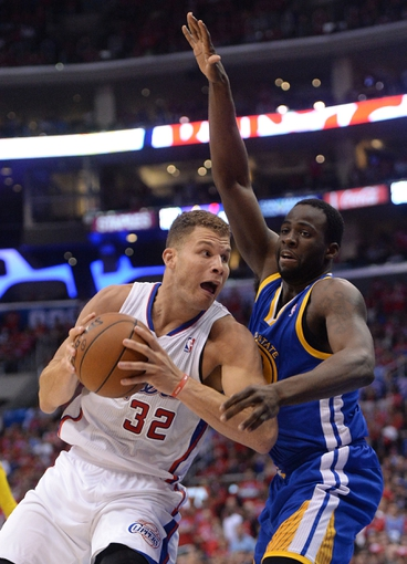 Apr 19, 2014; Los Angeles, CA, USA; (Editors note: Caption correction) Golden State Warriors forward Draymond Green (23) guards Los Angeles Clippers forward Blake Griffin (32) in the second half of game one during the first round of the 2014 NBA Playoffs at Staples Center. Warriors won 109-105. Mandatory Credit: Jayne Kamin-Oncea-USA TODAY Sports