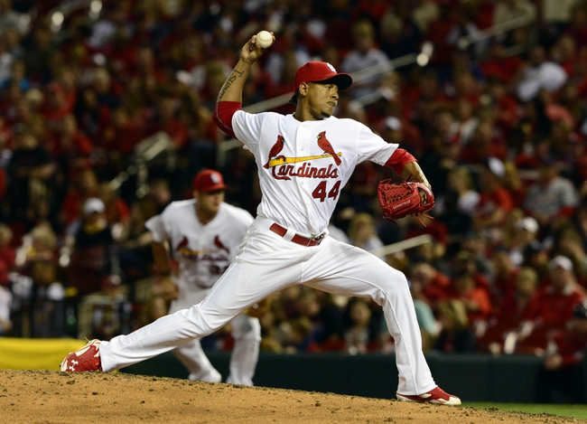 Apr 25, 2014; St. Louis, MO, USA; St. Louis Cardinals relief pitcher Carlos Martinez (44) throws to a Pittsburgh Pirates batter during the eighth inning at Busch Stadium. St. Louis defeated Pittsburgh 1-0. Mandatory Credit: Jeff Curry-USA TODAY Sports