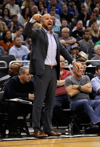 Apr 9, 2014; Orlando, FL, USA; Brooklyn Nets head coach Jason Kidd reacts against the Orlando Magic during the second half at Amway Center. Orlando Magic defeated the Brooklyn Nets 115-111. Mandatory Credit: Kim Klement-USA TODAY Sports