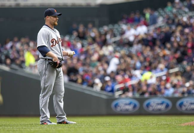 Apr 26, 2014; Minneapolis, MN, USA; Detroit Tigers relief pitcher Phil Coke (40) looks on after walking in a run in the fifth inning against the Minnesota Twins at Target Field. Mandatory Credit: Jesse Johnson-USA TODAY Sports