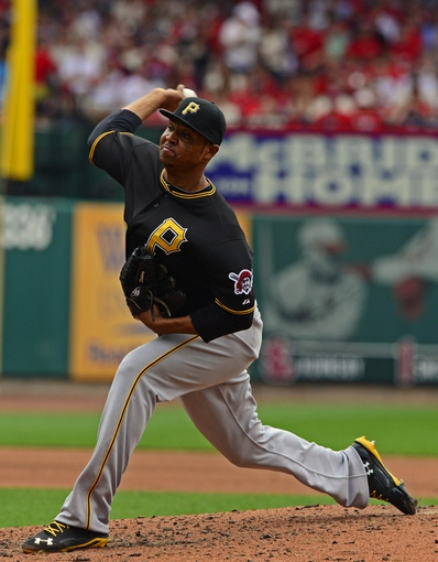Apr 26, 2014; St. Louis, MO, USA; Pittsburgh Pirates relief pitcher Stolmy Pimentel (38) throws the ball against the St. Louis Cardinals during the third inning at Busch Stadium. Mandatory Credit: Jeff Curry-USA TODAY Sports