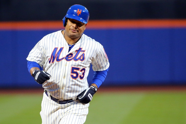 Apr 26, 2014; New York, NY, USA; New York Mets right fielder Bobby Abreu (53) rounds the bases on his two-run home run during the first inning against the Miami Marlins at Citi Field. Mandatory Credit: Anthony Gruppuso-USA TODAY Sports